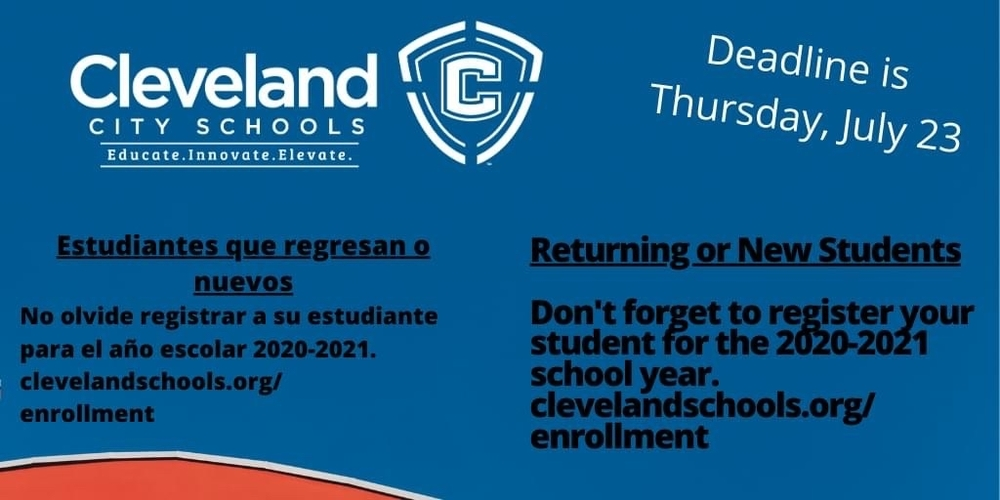 Only TWO more days to register returning or enroll new students