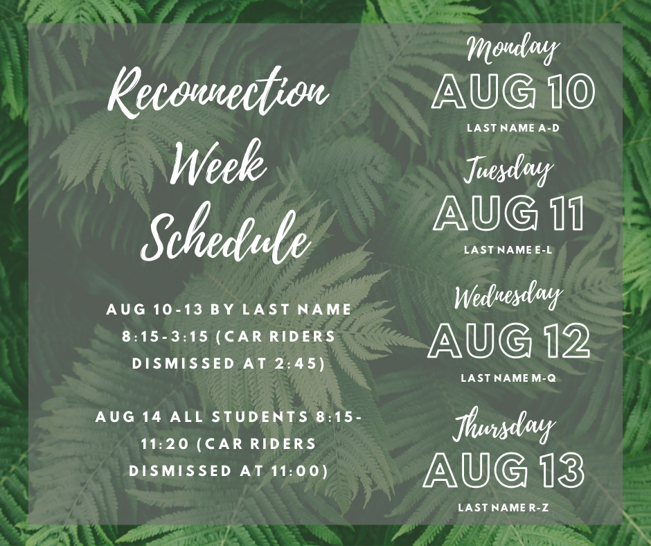 Reconnection Week Schedule